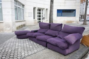 purple couch outside